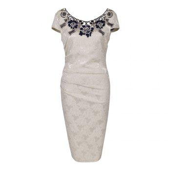 Round Collar Floral Embroidery Bandage Sheath Dress - APRICOT XL