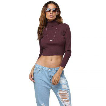 Simple Style Turtleneck Pure Color Women Crop Top