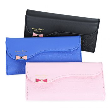 Guapabien Bowknot Cute Love Girls Long Wallet Purse -  SAPPHIRE BLUE