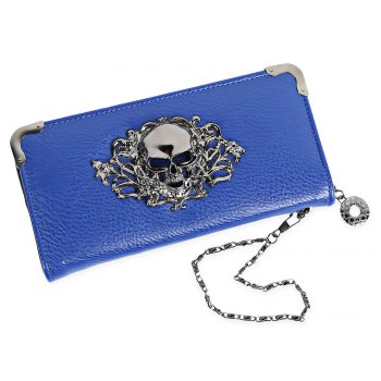 Guapabien Old Classical  Punk Handbag Zipper New Wallet Skull Woman Purse - SAPPHIRE BLUE SAPPHIRE BLUE