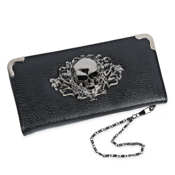 Guapabien Old Classical  Punk Handbag Zipper New Wallet Skull Woman Purse - BLACK BLACK