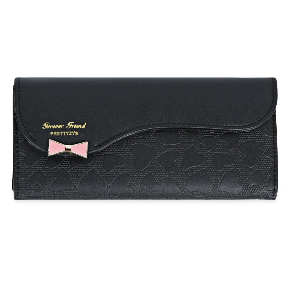 Guapabien Bowknot Cute Love Girls Long Wallet Purse - BLACK