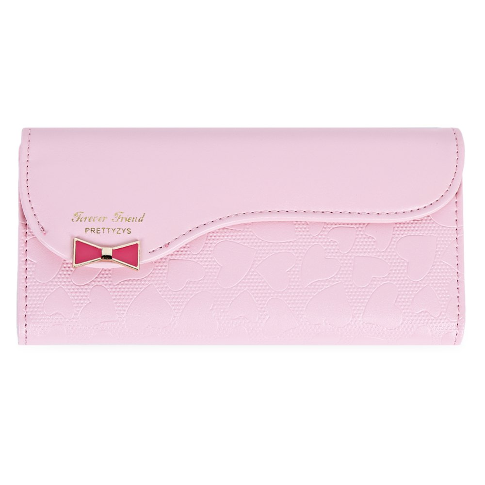 Guapabien Bowknot Cute Love Girls Long Wallet Purse - PINK