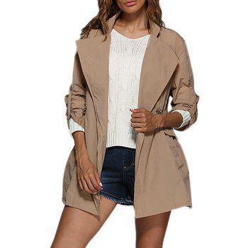 Chic Turn Down Collar Sash Waist Women Trench Coat