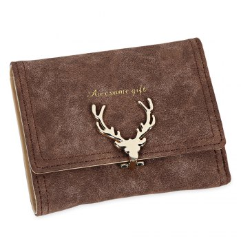 Women Short Section Christmas Elk Lock Three Fold Flip Frosted Wallet Purse - KHAKI KHAKI
