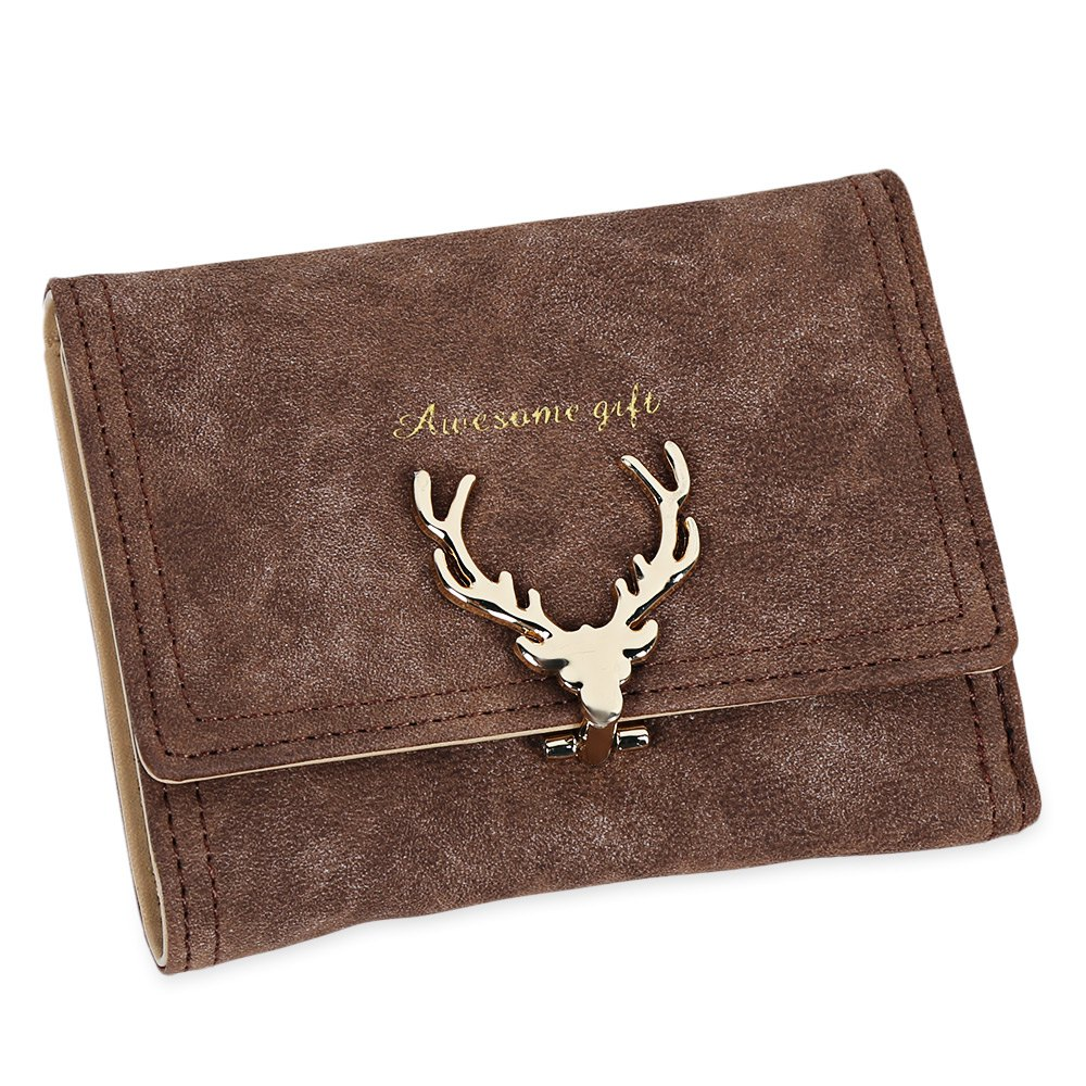 Women Short Section Christmas Elk Lock Three Fold Flip Frosted Wallet Purse - KHAKI