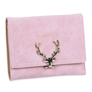 Women Short Section Christmas Elk Lock Three Fold Flip Frosted Wallet Purse - LIGHT PINK LIGHT PINK
