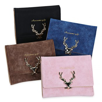 Women Short Section Christmas Elk Lock Three Fold Flip Frosted Wallet Purse -  LIGHT PINK