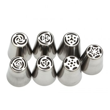 7pcs DIY Stainless Steel Buttercream Icing Piping Nozzles Baking Tools - SILVER SILVER