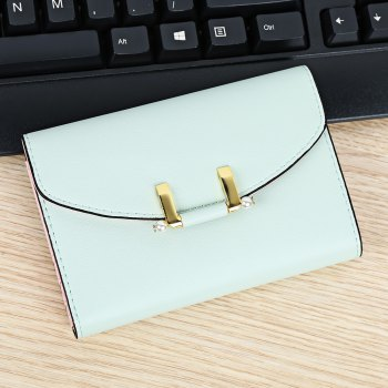 Lady Simple Geometric Mini Short Clutch Wallet Card Holder Coin Purse -  GREEN