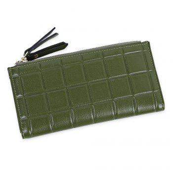Embossed Fringed Bi Fold Zip Around Wallet - GREEN GREEN