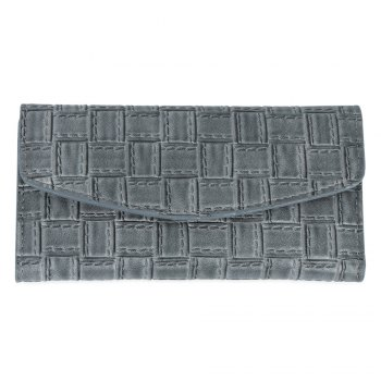 Embossed Clutch Checkbook Wallet with Multi Card Slots - DEEP GRAY DEEP GRAY