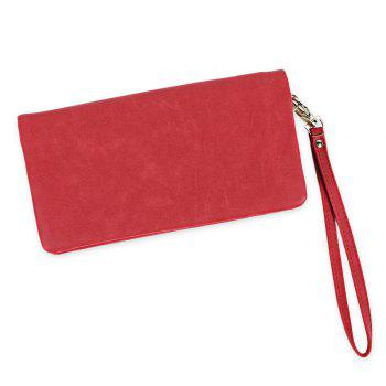 Zip Around Faux Suede Wristlet Wallet - RED RED