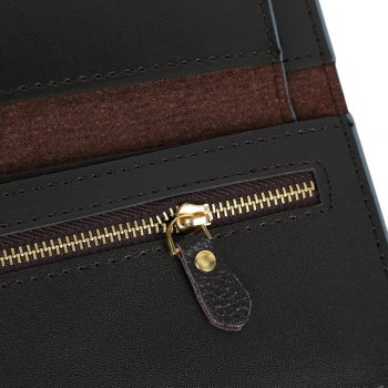 Embossed Clutch Checkbook Wallet with Multi Card Slots - DEEP GRAY