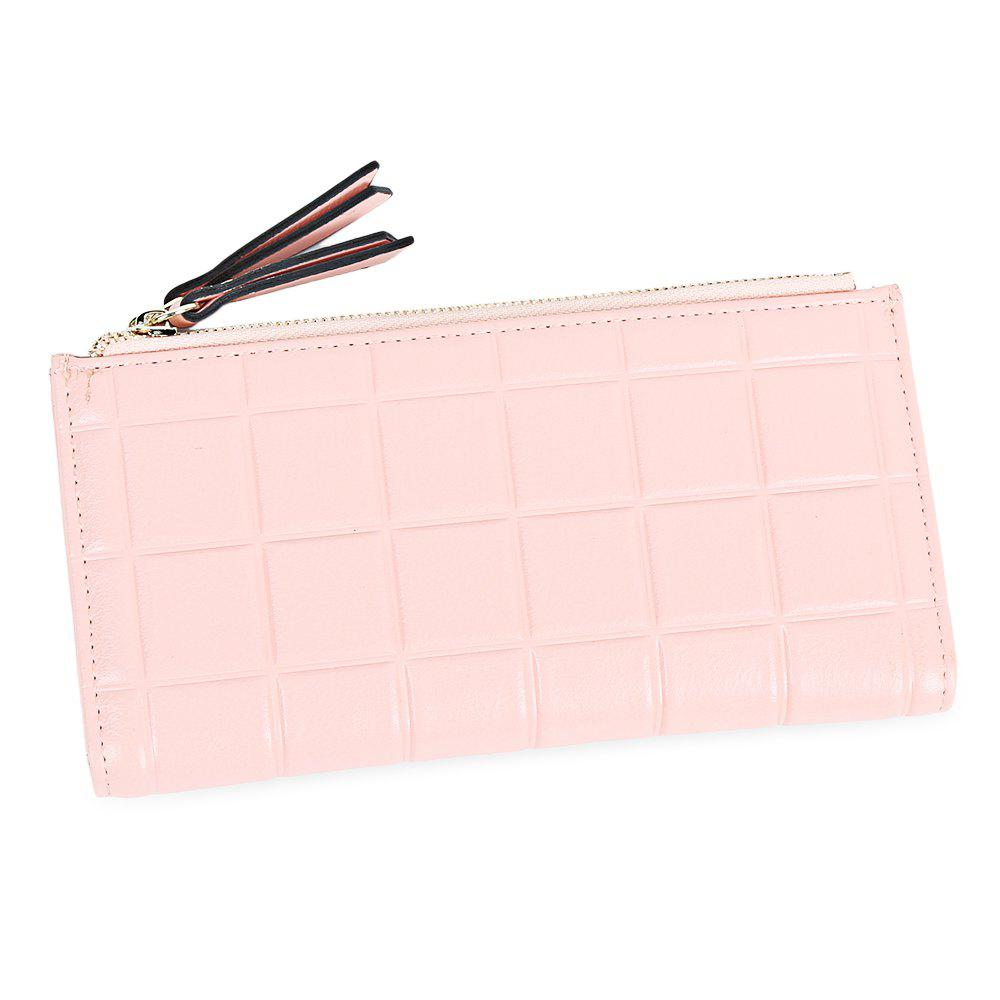 Embossed Fringed Bi Fold Zip Around Wallet - LIGHT PINK