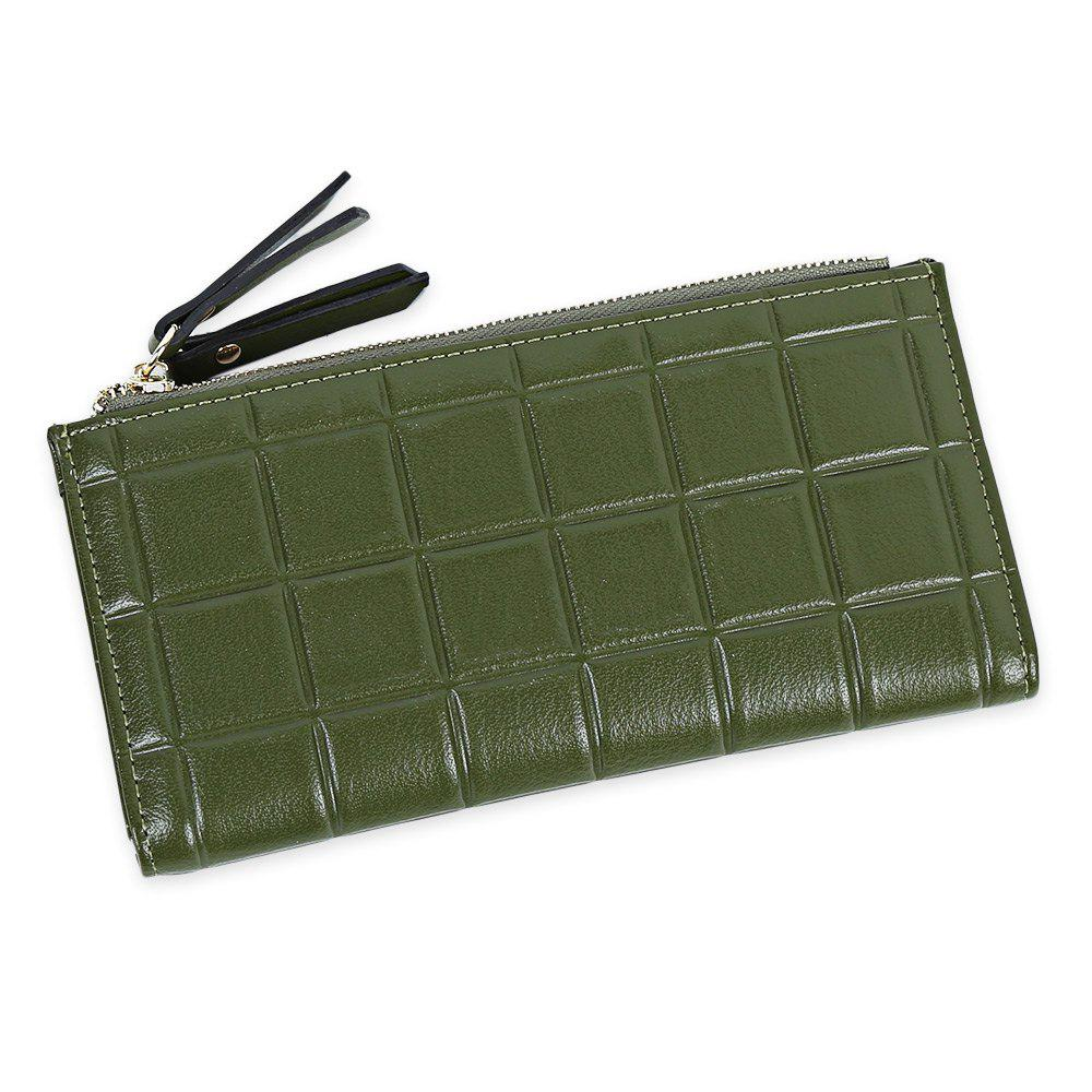 Embossed Fringed Bi Fold Zip Around Wallet - GREEN