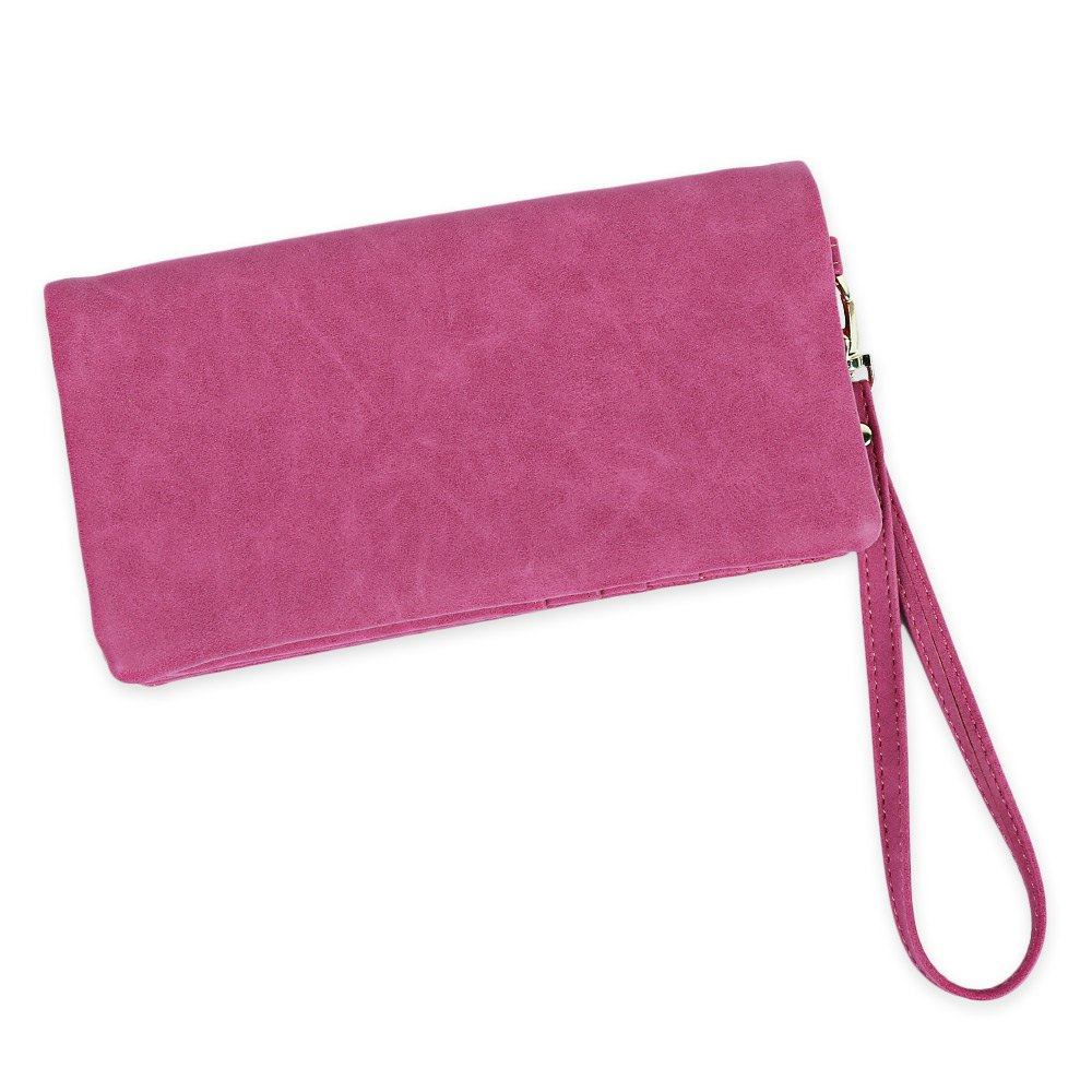 Zip Around Faux Suede Wristlet Wallet - Rose Rouge