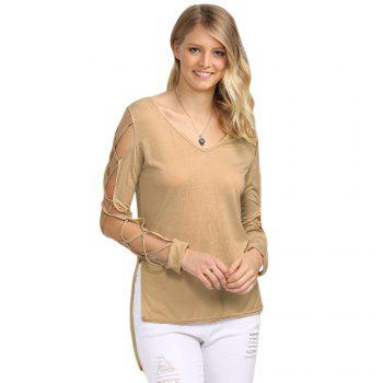 Sexy V Neck Hollow Out Solid Color Women T-Shirt