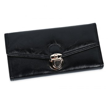 Women Long Section Triple Fold Lock Handbag Purse - BLACK BLACK
