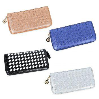 Women Hand-woven Cross Design Chain Long Section Handbag Card Wallet Purse -  WHITE