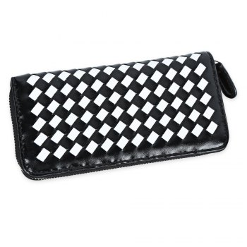 Women Hand-woven Cross Design Chain Long Section Handbag Card Wallet Purse - WHITE WHITE