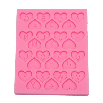 Love Heart Alphabet Letter Silicone Fondant Cake Decoration Mold