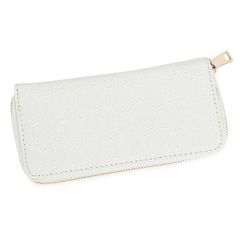 Guapabien Fashion Geometric Patterns Square Cross-section Large Capacity Women Clutch Wallet - WHITE WHITE
