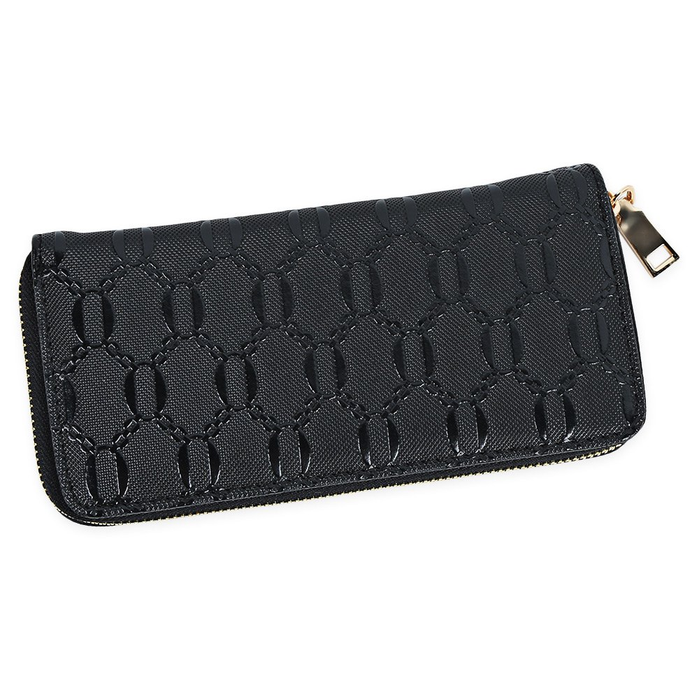 Guapabien Fashion Geometric Patterns Square Cross-section Large Capacity Women Clutch Wallet - BLACK