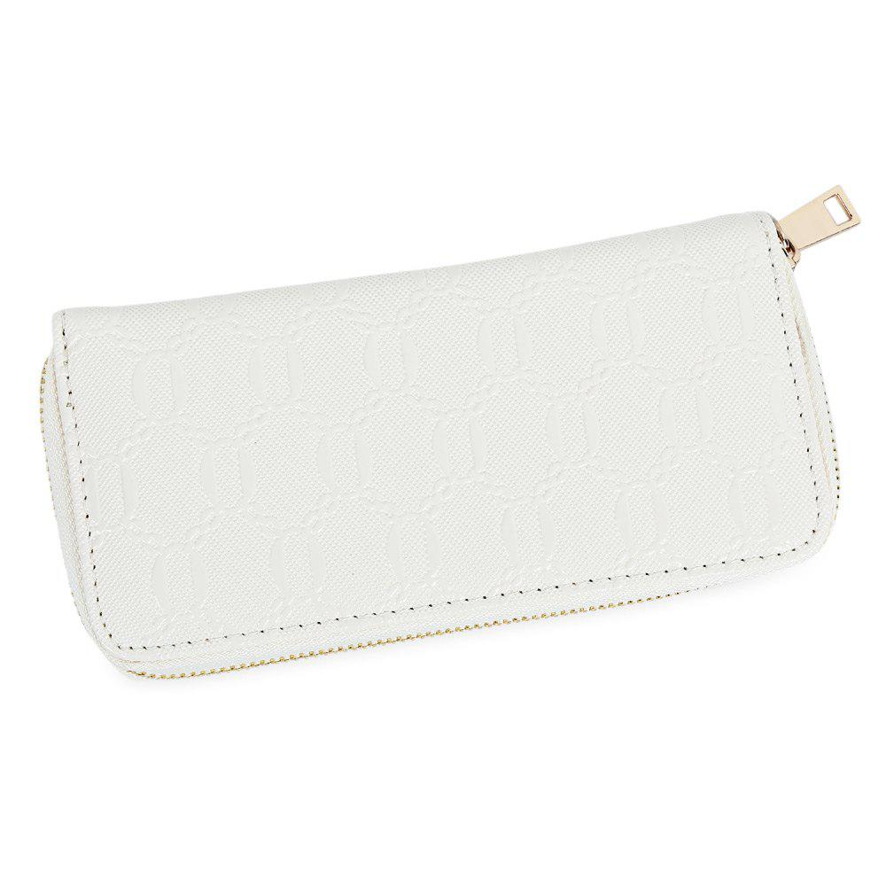 Guapabien Fashion Geometric Patterns Square Cross-section Large Capacity Women Clutch Wallet - WHITE