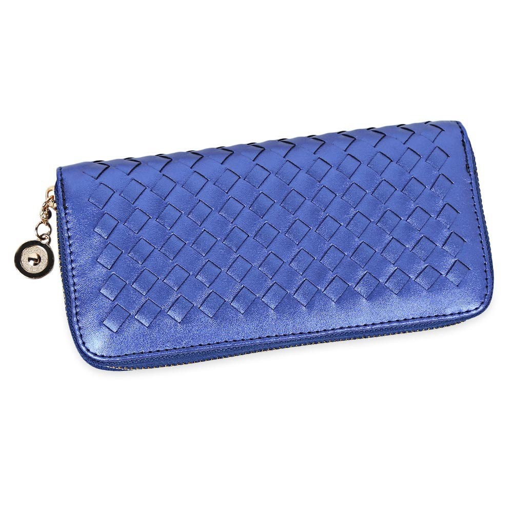 Women Hand-woven Cross Design Chain Long Section Handbag Card Wallet Purse - BLUE
