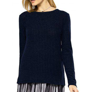Fashionable Round Collar Long Sleeve Back Bandage Design Knitted Pure Color Women Sweater