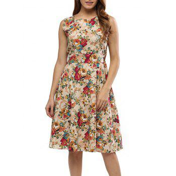 Vintage Round Collar Sleeveless Back Zipper Bowtie Lace-up Floral Print Mid-calf Women A-line Dress