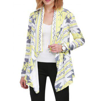 Fashion Turn-down Collar Long Sleeve Allover Print Women Cardigan