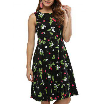Sweet Round Collar Sleeveless Back Zipper Bowtie Lace-up Patchwork Cherry Print Mid-calf Women A-line Dress
