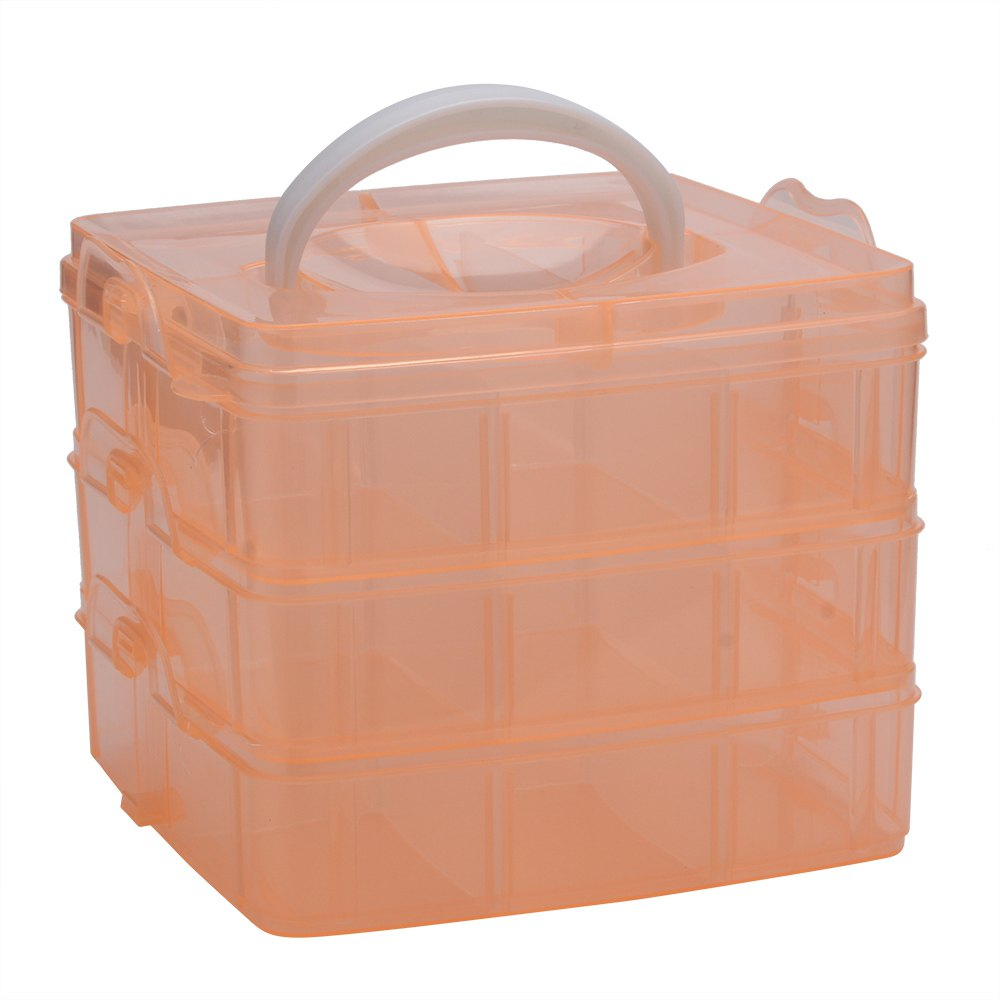 Creative Three Layers Removable Plastic Jewelry Bead Cosmetics Storage BoxHome<br><br><br>Color: ORANGE