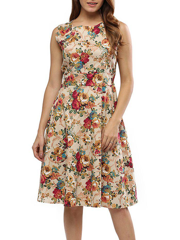 Buy Vintage Round Collar Sleeveless Back Zipper Bowtie Lace-up Floral Print Mid-calf Women A-line Dress APRICOT