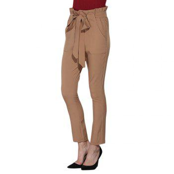 High Waist Bowtie Slim Harem Pants with Belt