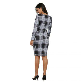 Long Sleeve Print Sheath Midi Dress - CHECKED CHECKED