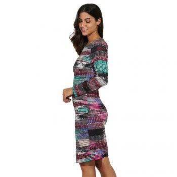 Trendy Round Collar Allover Print Women Sheath Dress - COLORMIX XL