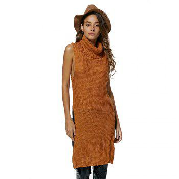 Turtleneck Slit Sleeveless Jumper Dress