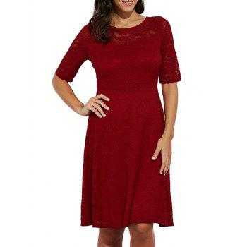 Elegant Round Collar Lace A-Line Women Midi Dress