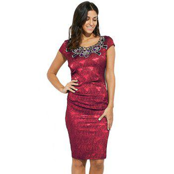 Round Collar Floral Embroidery Bandage Sheath Dress - ROSE MADDER 3XL
