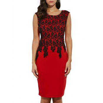 Lace Panel Color Block Sheath Midi Dress