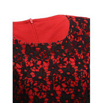 Lace Insert Two Tone Sheath Dress - RED RED