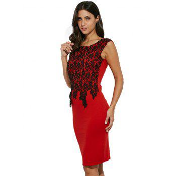 Lace Panel Color Block Sheath Midi Dress - RED M