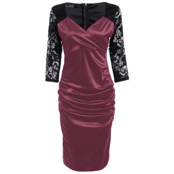 Midi Bodycon Dress With Lace Sleeves - RED 2XL