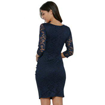 Midi Bodycon Dress With Lace Sleeves - PURPLISH BLUE L