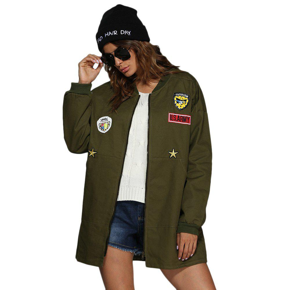 Trendy Stand Collar Badge Patch Women Coat - ARMY GREEN M