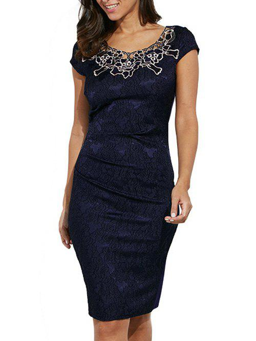 Round Collar Floral Embroidery Bandage Sheath Dress - PURPLISH BLUE 2XL