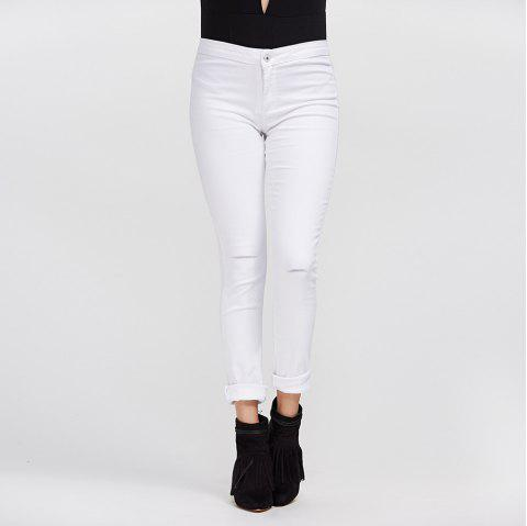 Chic Mid Waist Pure Color Skinny Women Jeans - WHITE XL